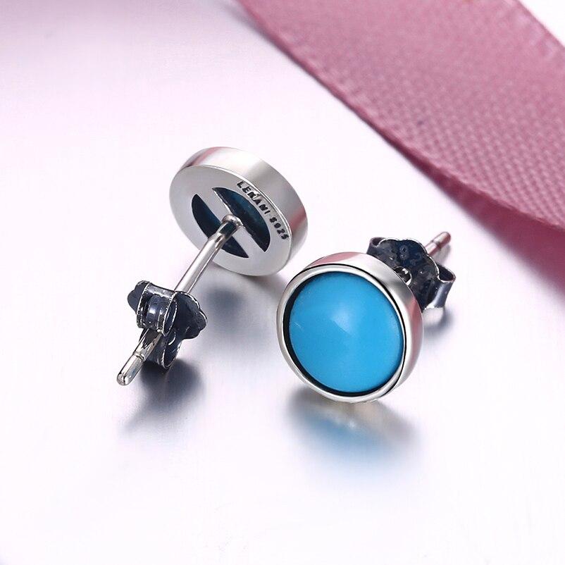 KIENMOLLOPHE կլոր փիրուզագույն 925 ստերլինգ - Նուրբ զարդեր - Լուսանկար 5