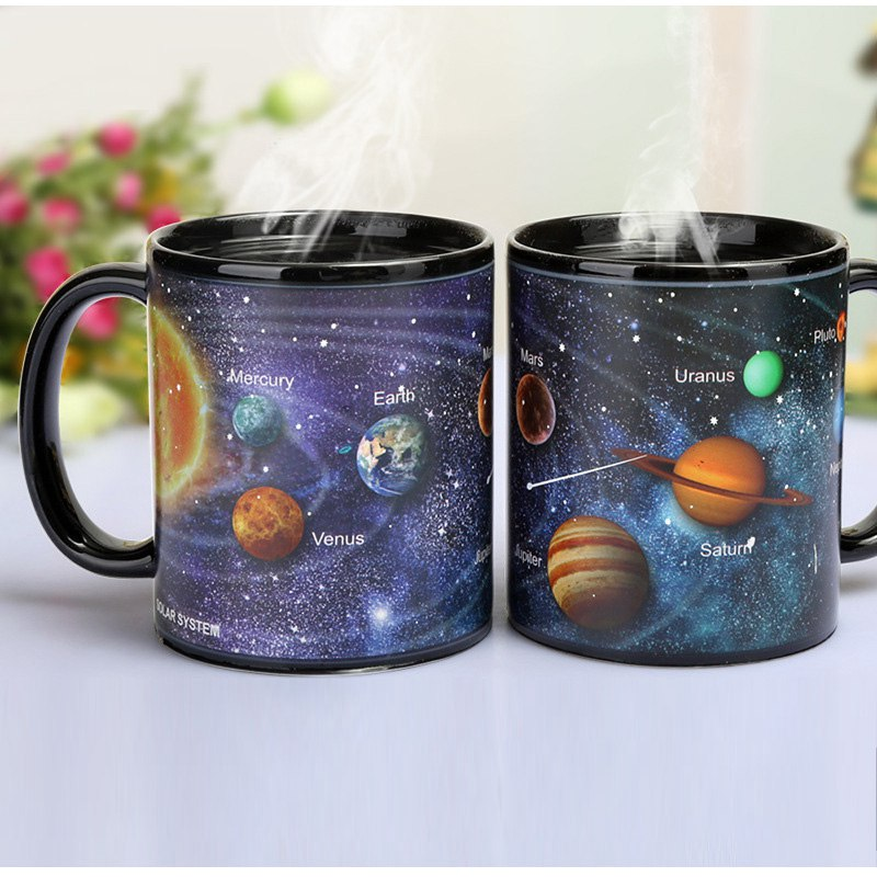 The Solar System Design Heat Sensitive Color Changing Mugs Magic Porcelain Tea Cup Milk Coffee Mug For Home Office taza de m&m