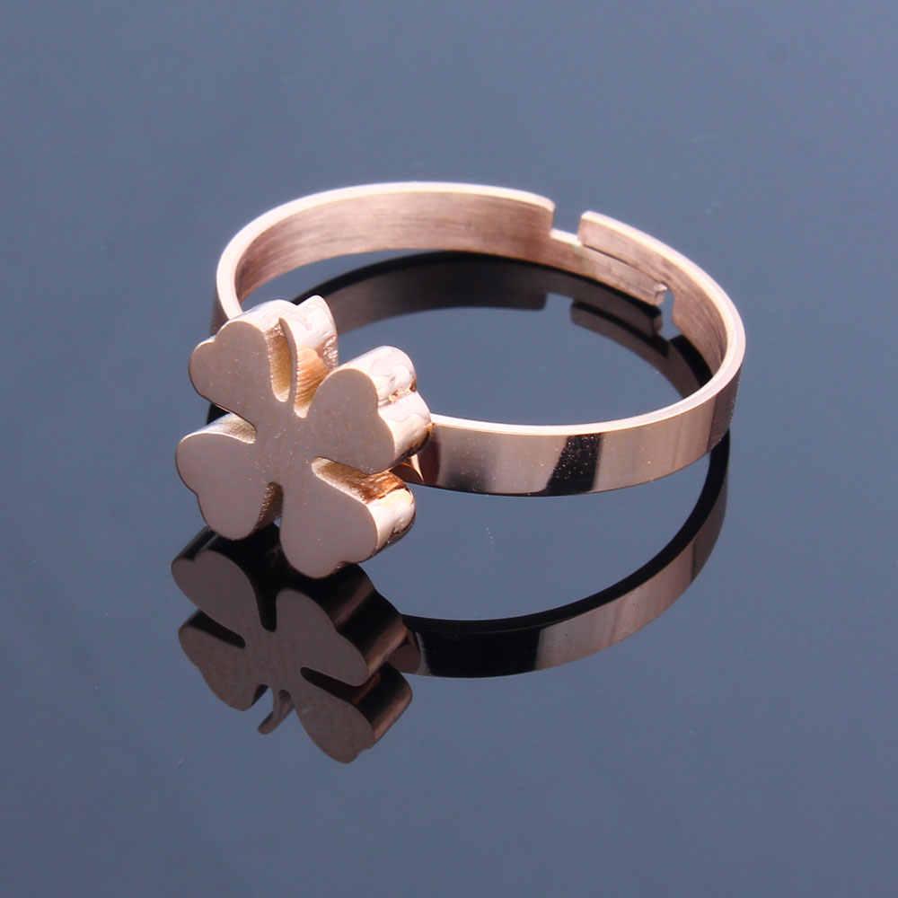 XUANHUA Edelstahl Ringe Großhandel Viele Groß Clover Ring Hochzeit Band Mode Einstellbare Ring Für Mädchen Schmuck Zubehör