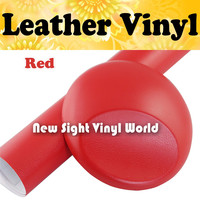 Red Leather Vinyl Wrap Red Leather Vinyl Film Leather Pattern Car Sticker Internal Decoration Size:1.52*30m/Roll