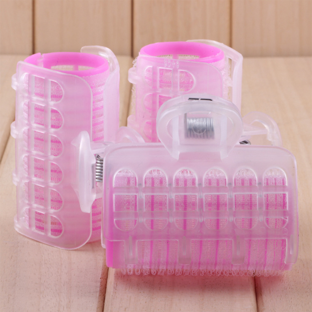 3pcs Women Girls Pink Hair Curling Wave Rollers Self Grip Salon PP Plastic Hairdressing Curlers Large Size