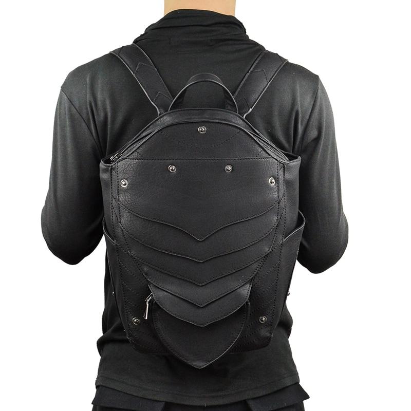 Punk Angel Wing sac à dos pour hommes femmes gothique noir en cuir diable sacs à dos Vintage mode sac d'école Vampire rétro sacs - 5