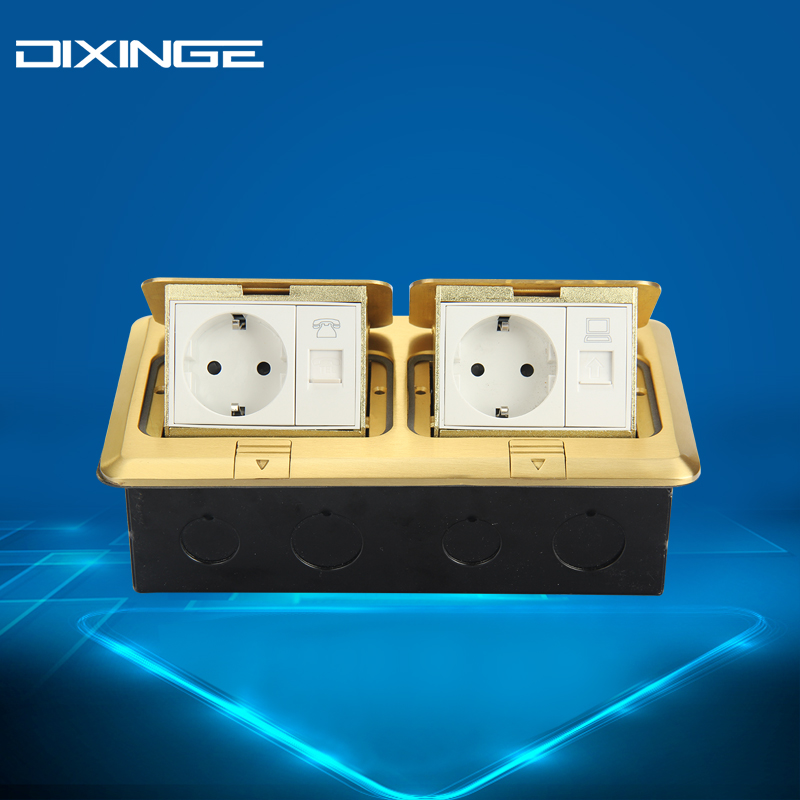 New Telephone And Computer Socket Wall Socket TEL & PC Outlet Yellow Color Fireproof PC Material Panel B120-T153 dixinge high quality brand german standard socket wall socket tv outlet silvery were pc material panel b120 l134