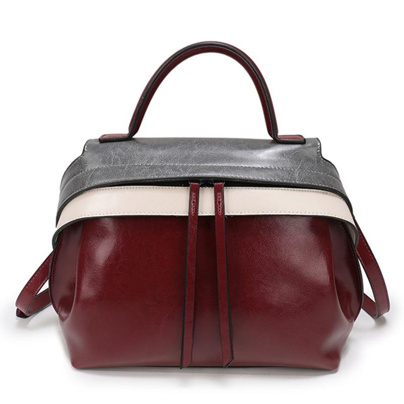купить Genuine Leather Handbags Women Contrast color High Quality Casual Female Bags Trunk Tote Brand Shoulder Bag Ladies Large Bolsos по цене 4955.66 рублей