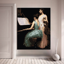 Playing Piano and Violin Picture By Numbers Kits Hand painted Style On Linen Canvas Unique Gift DIY Girl Music World Painting p csige prelude for piano and violin