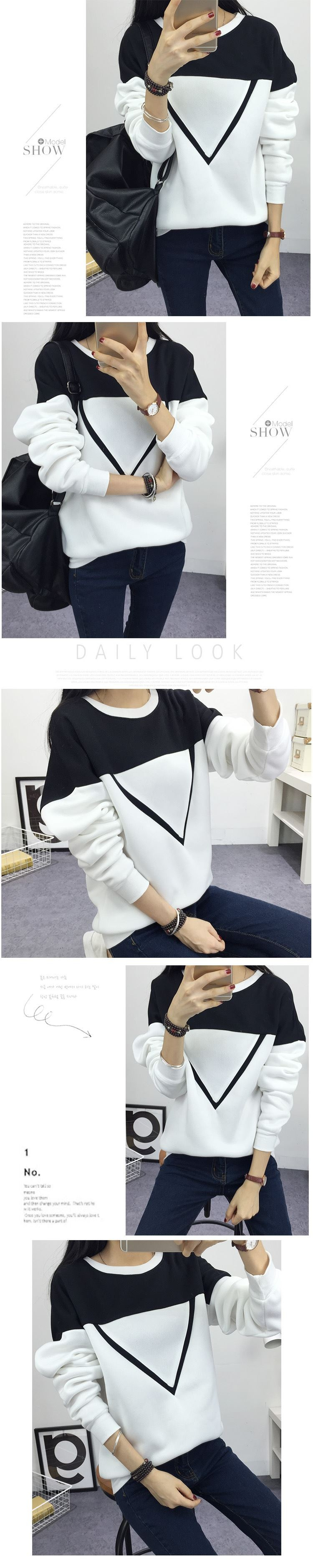 19 Winter New Fashion Black and White Spell Color Patchwork Hoodies Women V Pattern Pullover Sweatshirt Female Tracksuit M-XXL 11