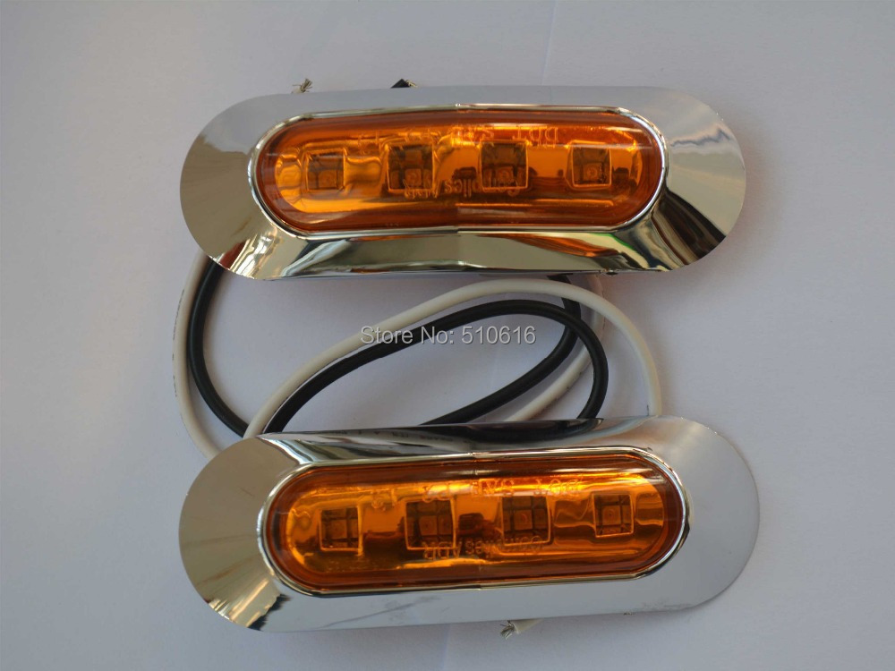 Free shipping Chrome Side Marker Light for Trailer 10 Pcs Yellow P2 ...