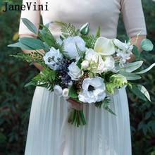 JaneVini Romantic Wedding Bouquet White Bridal Flowers Fake Bouquet Artificial Silk Rose Bride Bouquets Outdoor Bouquet De Fleur