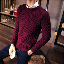 2017 HIGH QUALITY O-Neck warm Sweater Brand Men Pullover Men Sweaters Knitting Slim Fit Sweater Men Plus large Size homme