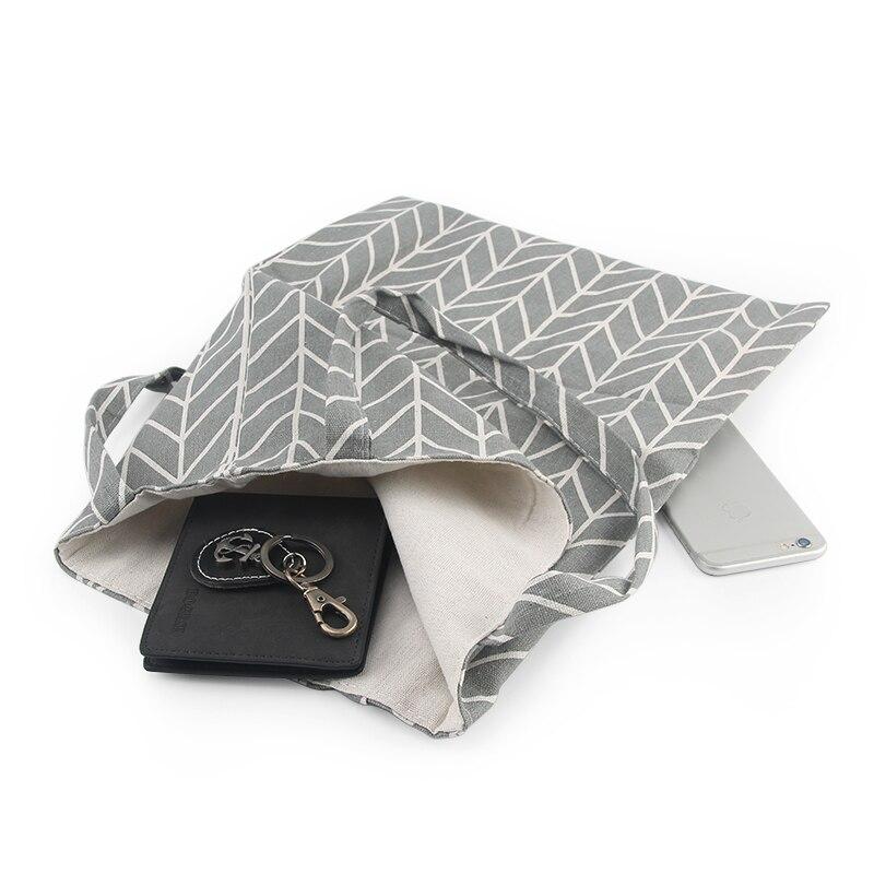 Canvas Tote Bag Eco Reusable Shopping Bag Large Capacity Plaid Canvas Shopping Shopper Bags For Women Female