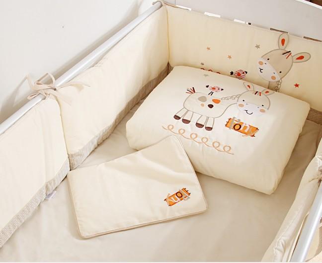 Discount! 7pcs Embroidered Baby Bedroom Set Nursery Bedding cotton patchwork cot bedding set ,(2bumper+duvet+sheet+pillow)