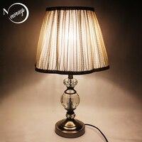 Modern novelty fabric crystal desk light vintage E27 LED 220V bright bureau lamp for Reading bedside home living room office bar