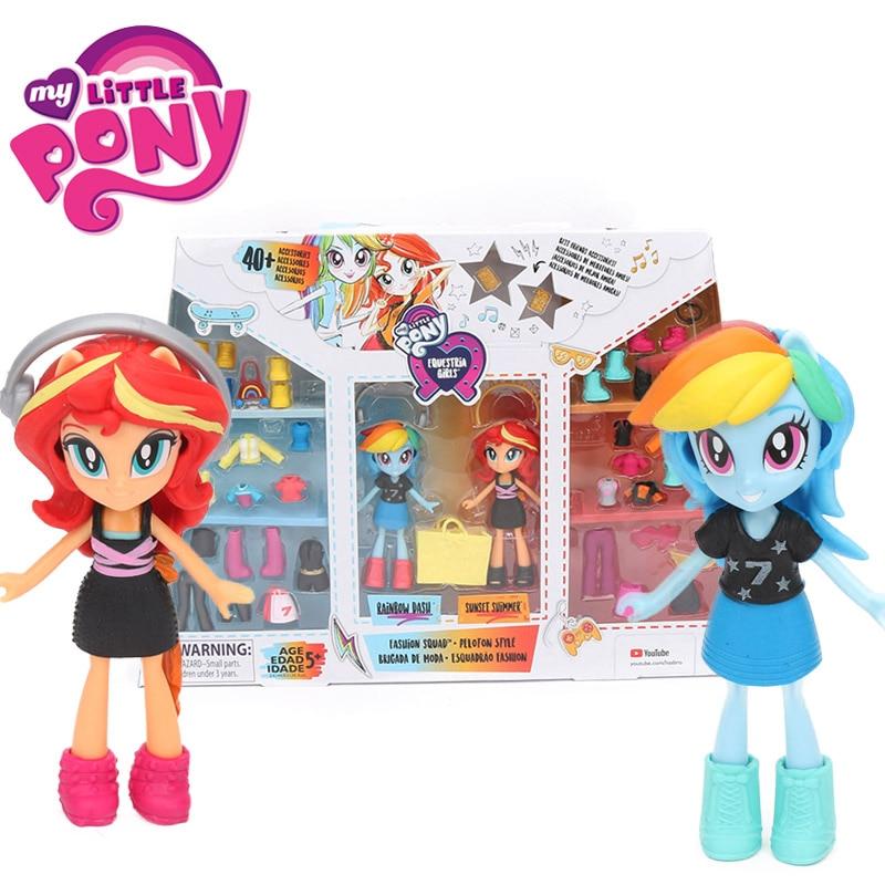 Action-Figure-Set Pony-Toys Sunset Shimmer Peloton-Style Girls My Little Squad Best-Friends