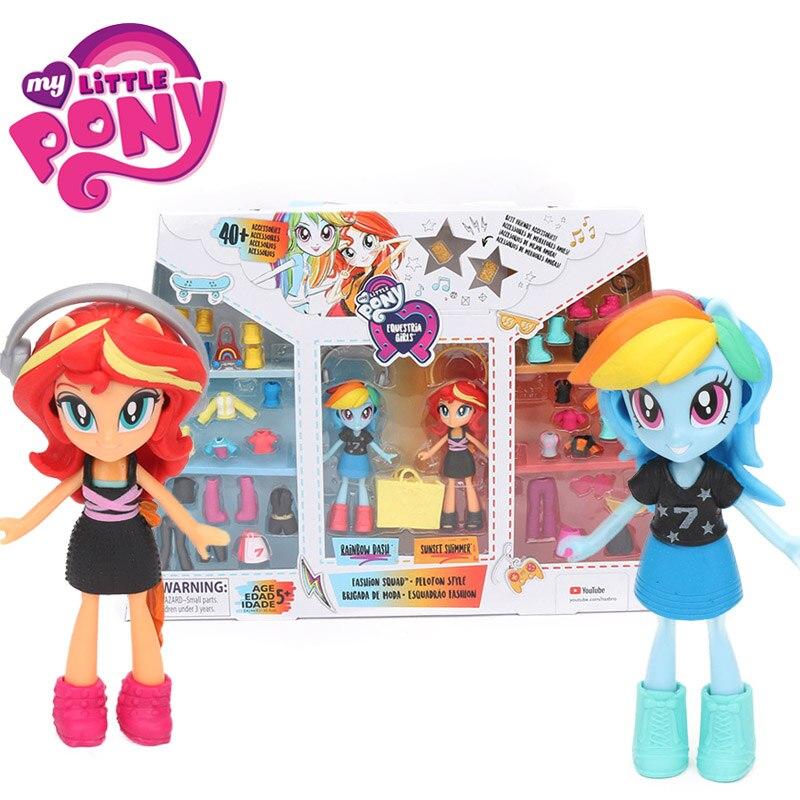 9cm My Little Pony Toys Fashion Squad Peloton Style Pinkie Pie Rarity Sunset Shimmer Action Figure Set Girls Best Friends