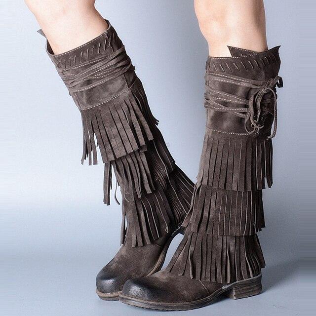 Prova Perfetto daim cuir femmes genou bottes hautes à franges bottes hautes femme plate-forme Botas plates glands hiver Martin botte