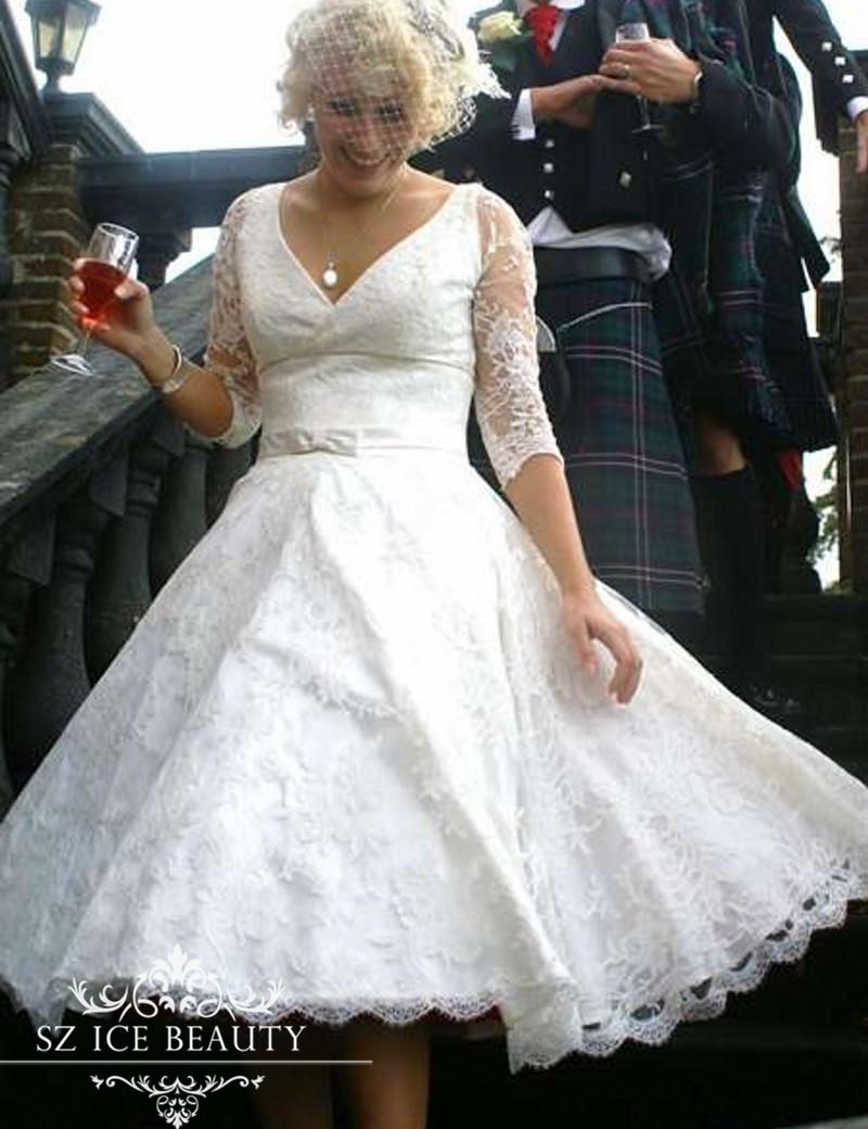 Online get cheap tea length wedding dresses vintage style for Cheap wedding dresses tea length
