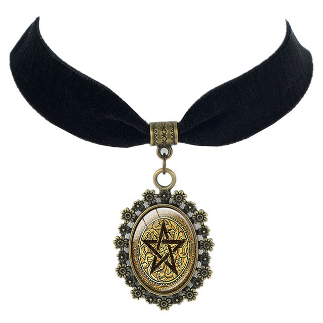 Golden pentacle black lace necklace pentacle pendant pentagram golden pentacle black lace necklace pentacle pendant pentagram jewelry wiccan pendant jewelry zen pendants spiritual jewelry aloadofball Gallery
