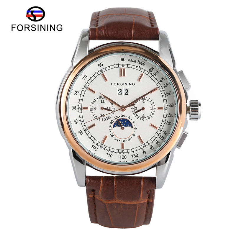 FORSINING Date Display Automatic Mechanical Watch Men Business Leather Band Watches Modern Gift Dress Classic Analog Clock +BOX forsining tourbillon designer month day date display men watch luxury brand automatic men big face watches gold watch men clock