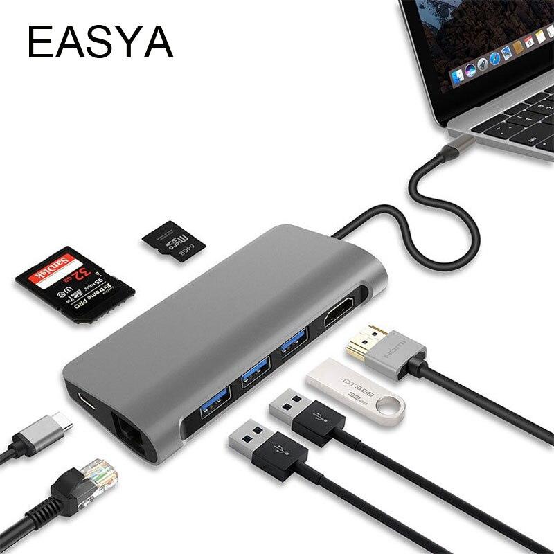 EASYA 8 in 1 Thunderbolt 3 USB Type C Hub to HDMI 4K Rj45 1000M Adapter