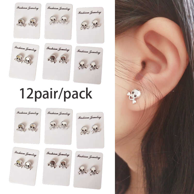e945fcb02 Punk Rock Skull Round Magnetic Earings For unisex No Piercing Ear Studs  Jewelry No Hole Magnet