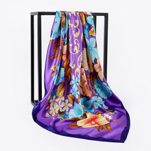 Ethnic Style 90*90cm Big Flower Square Scarves Classic Peony Printed Satin Scarf Shawls Muslim Headscarf 7 Colors For Women