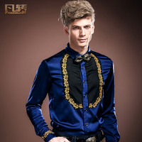 Fanzhuan Free Shipping New Fashion Casual Male Men S Personality Original Design Embroidery Long Sleeved Shirt