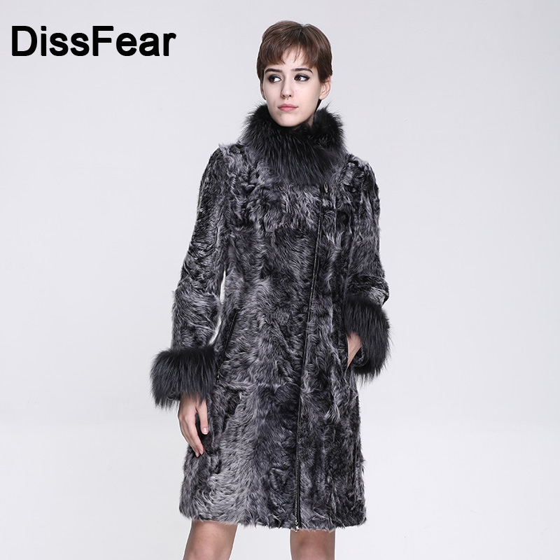 High Street Real Fox & Lamb Fur Coat Long Fashion Women Natural Winter Clothes Genuine Fur Leather Jacket Overcoat Lady Coats