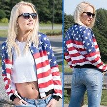 New Arrival Women Bomber Jacket USA Flag