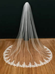 Wedding-Accessories Comb Lace Mantilla Bridal-Veil Cathedral Long 3m White/ivory