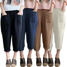 Женские льняные укороченные брюки с заостренными лодыжками и капри Брюки с эластичной талией Хлопок