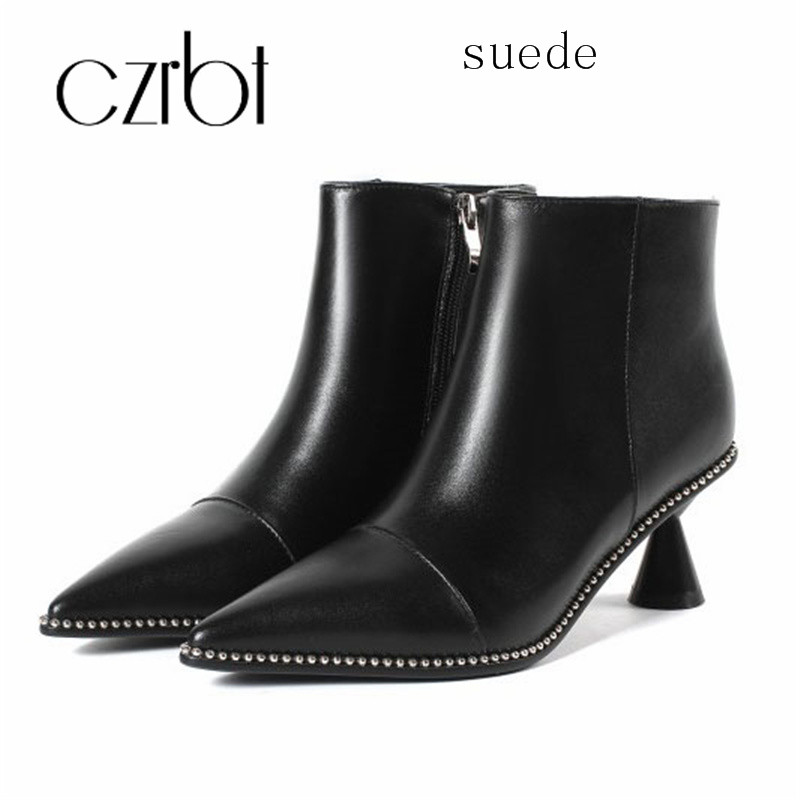 a7412ac070a US $88.12 |czrbt 2018 short boots women's fall new top layer cowhide  pointed wine cup heel boots high heel metal side zip boots-in Ankle Boots  from ...