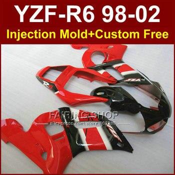 Glossy red  fairing parts for YAMAHA fairings kit YZF  R6 98-02 YZF R6 1998 1999 2000 2001 2002 custom fairing 8R23 Injecion ABS