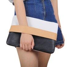 New Contrast Color Patchwork Lady Daily Clutch Soft PU Zipper Handbag Female Colorful Casual Bag Women
