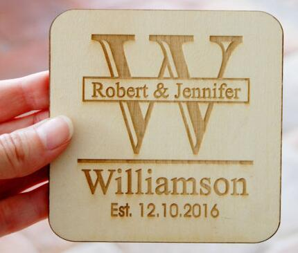 Personalized Wedding Wooden Favors Coaster Invitation Labels Cards