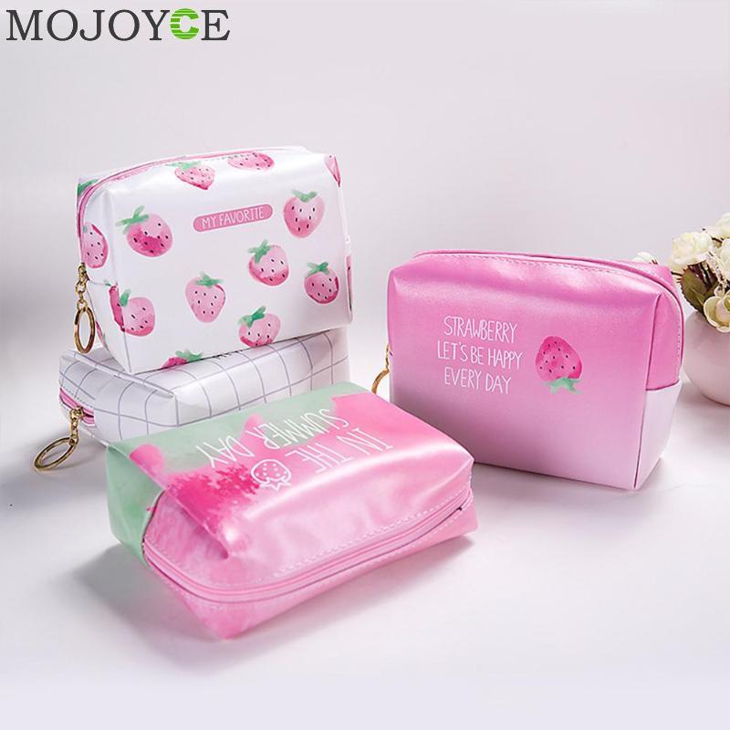 Korean Creative Strawberry Pattern Cosmetic Bag Large Capacity Storage Package Portable Wash Bag Women Travel Makeup Organizer цена