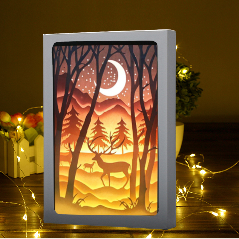 1PCS 3D Papercut Light Boxes Christmas Elk tree and moon LED Night Light Lamp Luminary Lantern Shadow Box Indoor Decor Kids gift