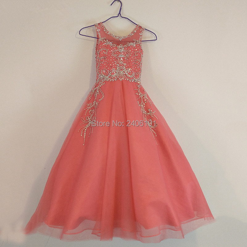 Fashion A-Line Rhinestone Ornament   Flower     Girl     Dress   for Wedding Party