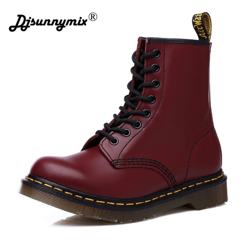 Men 2019 Boots Genuine Leather Martin Winter Warm Shoes For Unisex British Vintage High Quality Desert Boots Big Size 35-46