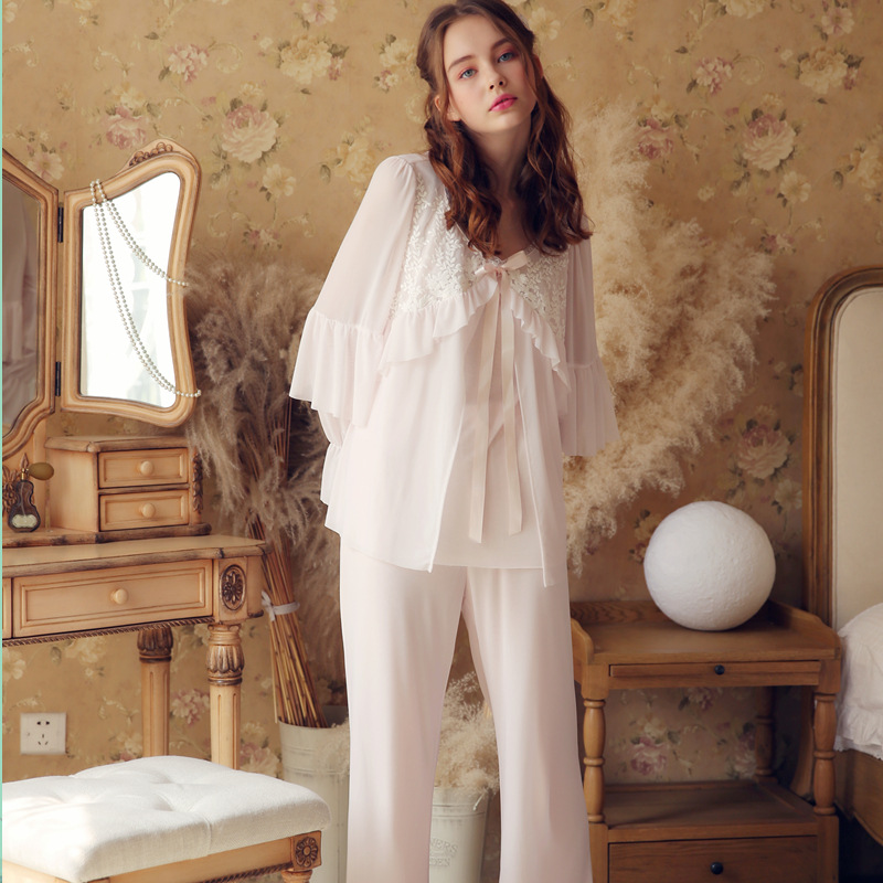 Two Piece Women's   Pajamas     Set   embroidered Lace Top Cotton Long Sleeved Pyjamas Women   Pajamas   For Women Cloth Sleepwear Homewear
