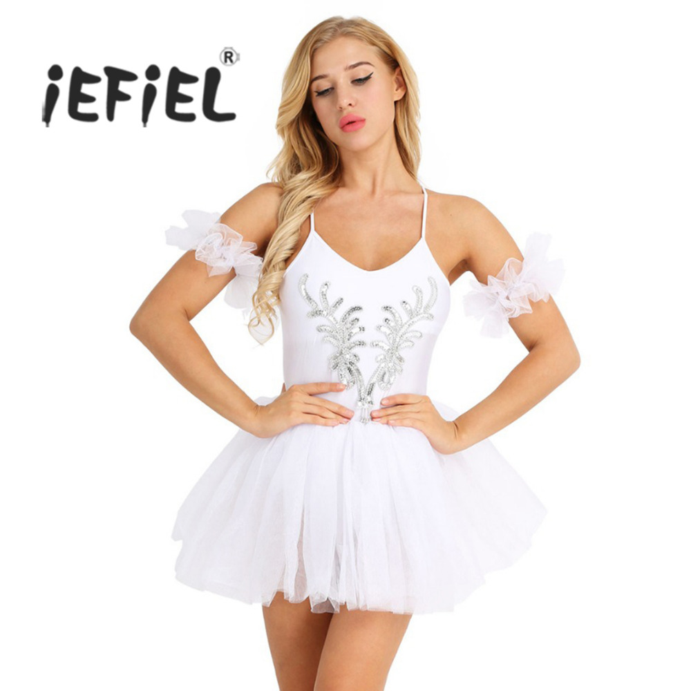 Women Adult Swan Lake Ballet Costume Dress Spaghetti Strap Sleeveless Sequined Beads Flower Bailarina Gymnastics Leotard Dresses