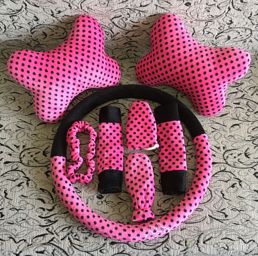 8pcsUniversal pink cat Car steering wheel cover Gear cover safe Belt cover Handbrake cover car interior Accessories styling interior accessories car seat cover kitty car seat covers - title=