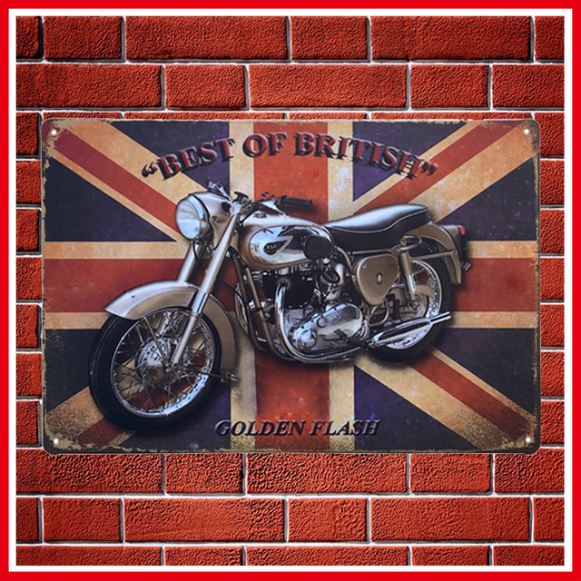 New Vintage England Motorcycles Metal Signs Home Decor Vintage Tin ...