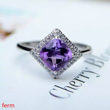 KJJEAXCMY Fine jewelry Korean style mini fresh 925 silver inlaid natural Brazilian amethyst ring classic