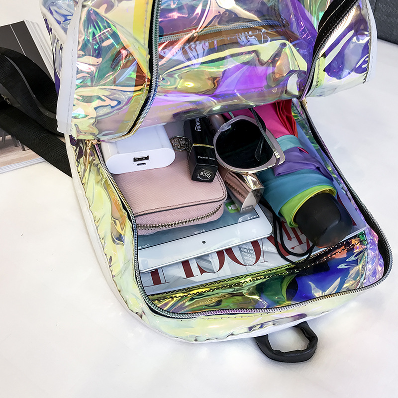 Transparent Holographic Backpacks Korean Style Small Backpack For Girls  Shining Hologram Shoulder bags Mochilas Feminina-in Backpacks from Luggage  & Bags on ...