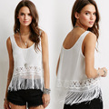 New mulheres Lace Crochet Tassel Fringe cortar Top pescoço da colher mangas Casual camisola Top colete tanque fêmea Top