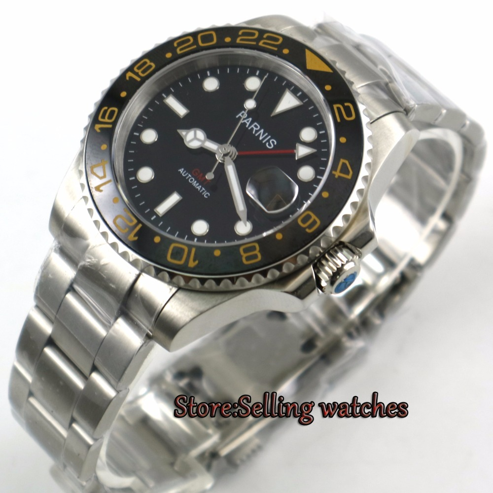 40mm Parnis black dial Ceramic Rotatig Bezel Sapphire glass Ceramic bezel GMT automatic mens watch
