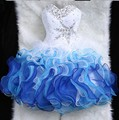 Aure Mario Elegant White&Blue Cocktail Dress 2016 Evening Party Gowns Short About Knee Appliques Prom Dresses 03193