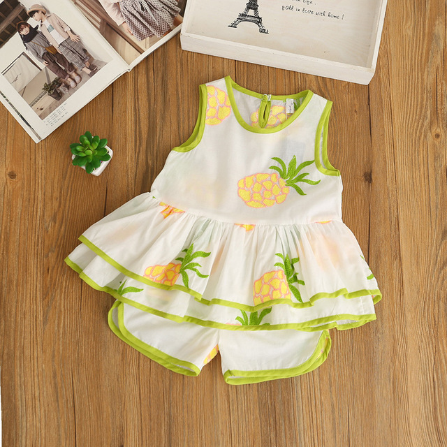 Girls Kids Clothing Set Summer Baby Embroidery Pineapple Set Fashion Girl Princess Outfits Suit 2-6y Leisure Childrens Clothing