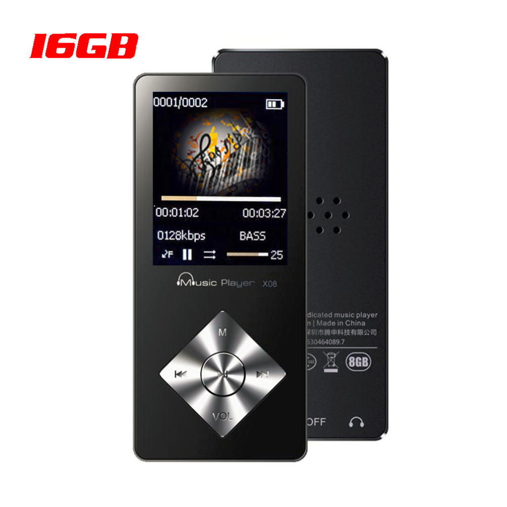 Sport Mp3 player 16GB FM Radio Video player E-Book Recording Build in Speaker mp3 music player IQQ X08 Support 64GB SD TF card mp3 player built in speaker metal lossless sound audio music player with fm radio hd video player support sd card up to 64gb
