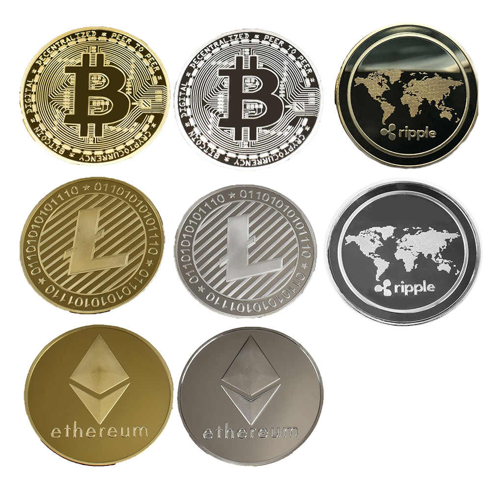 40 Mm Emas Bitcoin Koin dengan Acrylic Square Case Litecoin ETH Xrp Mata Uang Kripto Logam Koin